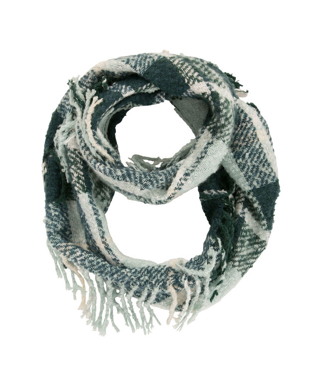 Plaid Fringe Eternity Scarf, Juniper/Mint, hi-res