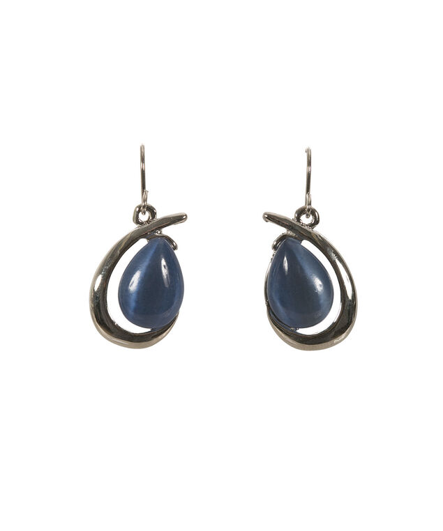 Cateye Tear Earring, Sea Blue/Rhodium, hi-res