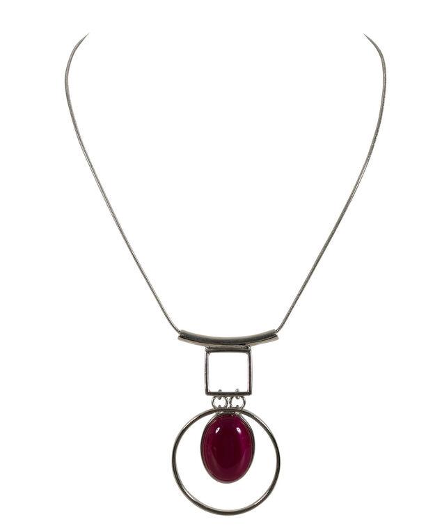 Cut Out Circle Necklace, Hot Pink/Rhodium, hi-res