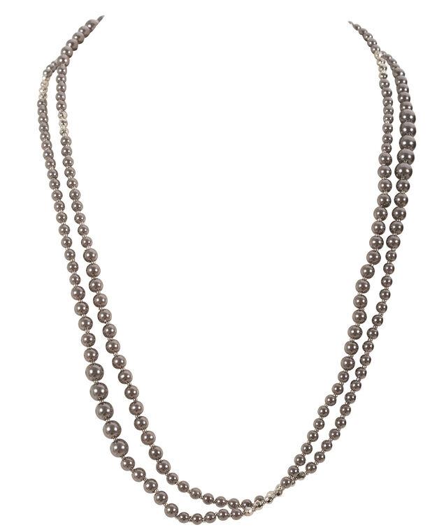 Long Beaded Pearl Necklace, Grey/Hematite, hi-res