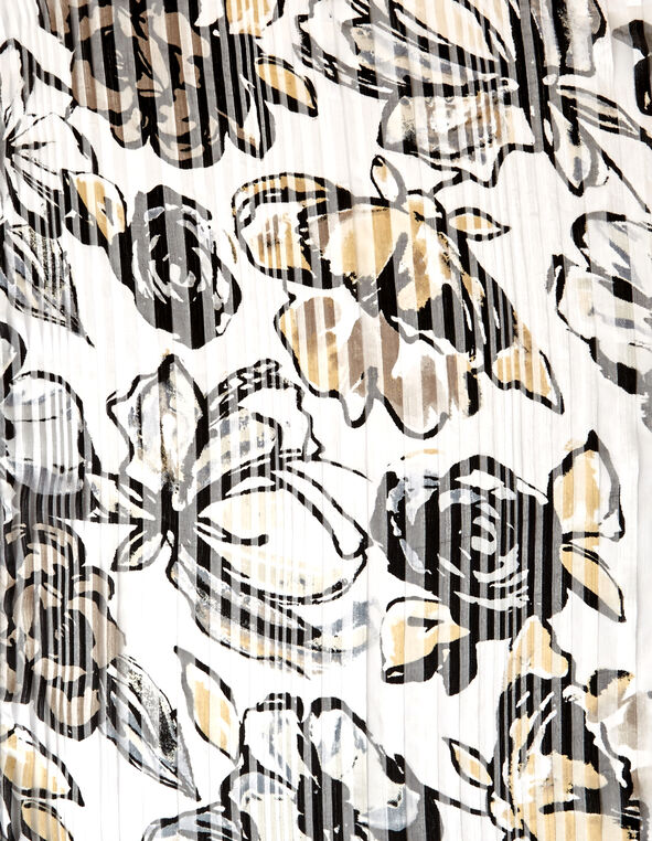 Floral Oblong Scarf, White/Black/Neutral, hi-res