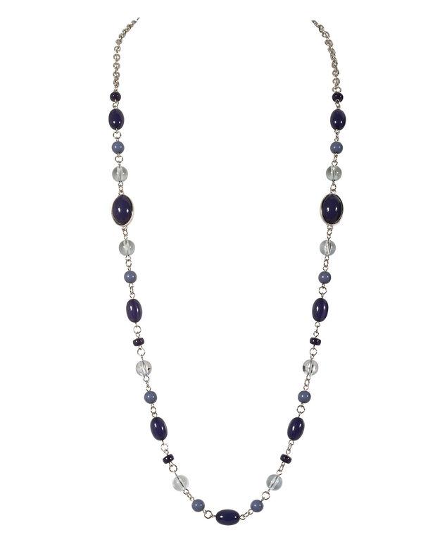 Stationed Bead Necklace, Light Blue/Blue/Burnished Silver, hi-res