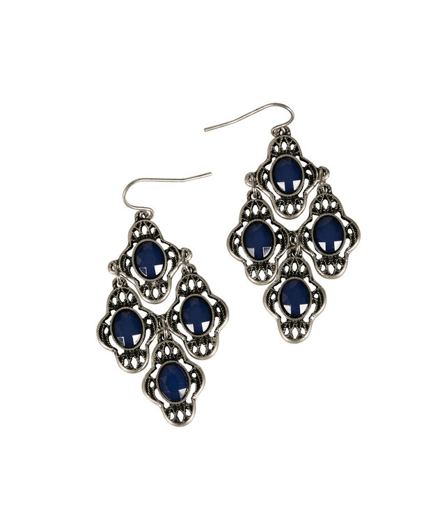 Stone Chandelier Earring, Sapphire/Burnished Silver, hi-res