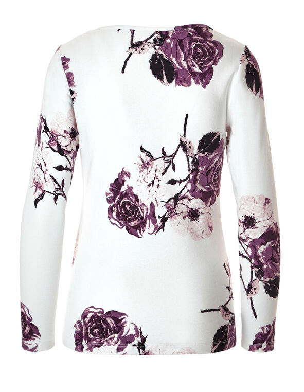 Floral Print Split Neck Tee, Ivory/Deep Plum/Raspberry, hi-res