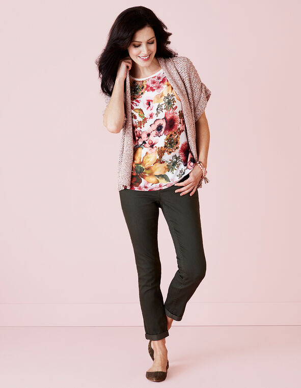 Soft Pink Floral Print Top, White/Pink/Yellow/Olive, hi-res
