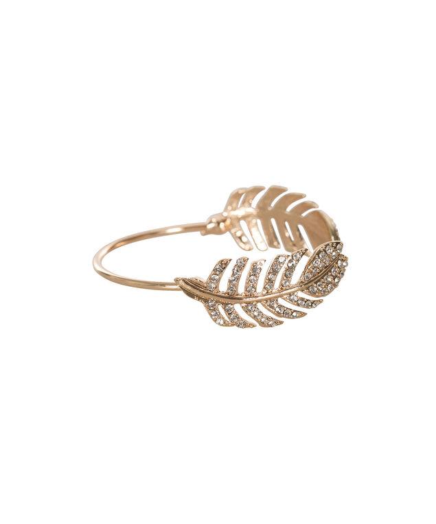 Crystal Feather Cuff Bracelet, Rose Gold, hi-res