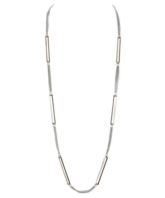 Square Ring Chain Necklace, Rhodium/Soft Gold, hi-res