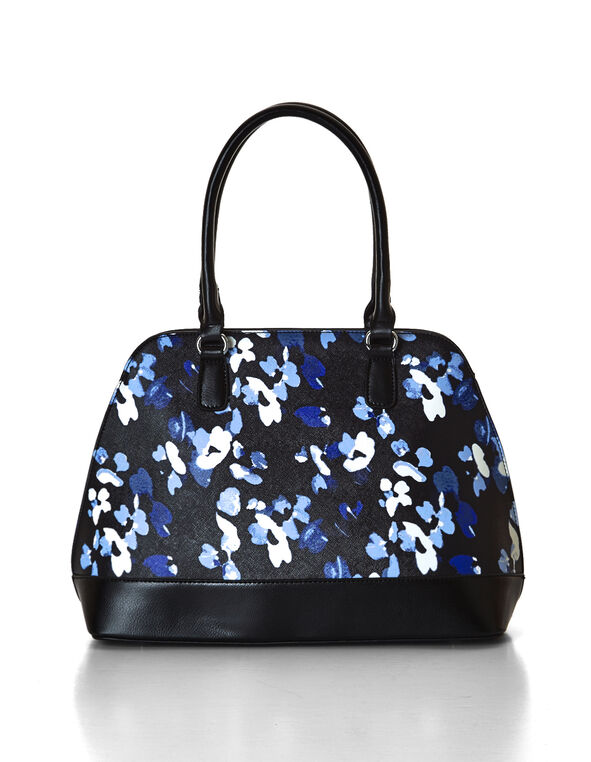 Floral Satchel Handbag, Blue/Washed Blue/Black/White, hi-res