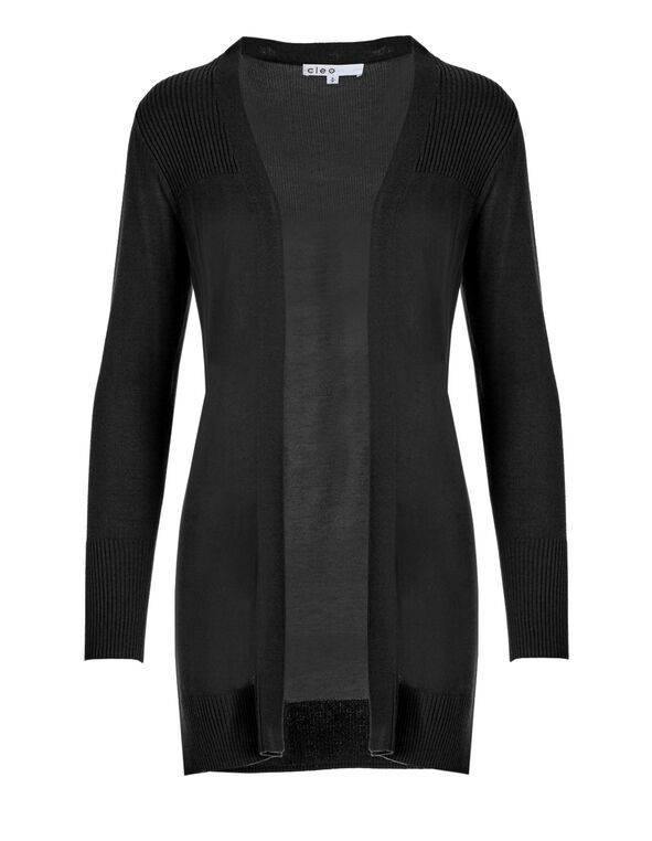 Black Cardigan Sweater, Black, hi-res
