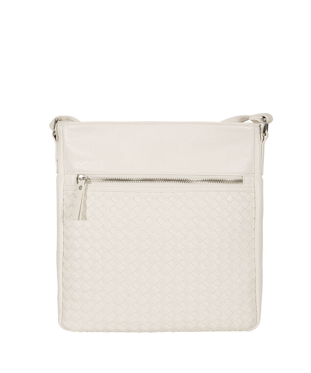Woven Crossbody Bag, White, hi-res