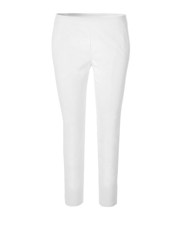 White Lattice Pull On Ankle Pant, White, hi-res