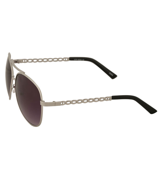 Twisted Arm Aviator Sunglasses, Silver, hi-res