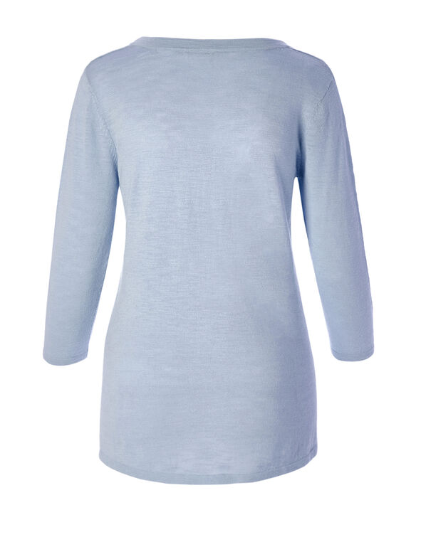 Blue Side Split Sweater, Blue, hi-res