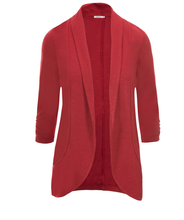 Shawl Collar Cover-Up, Poppy Red, hi-res
