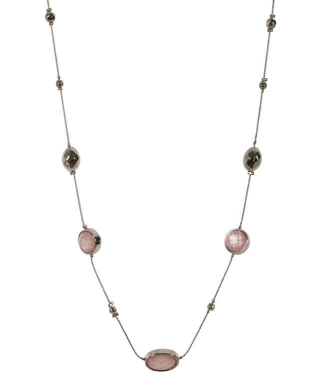 Glitter Stone Necklace, Soft Pink/Rhodium, hi-res