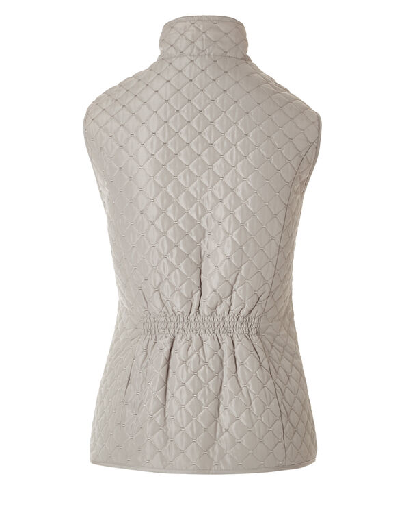 Quilted Vest with Gold Zipper, Latte/Gold, hi-res
