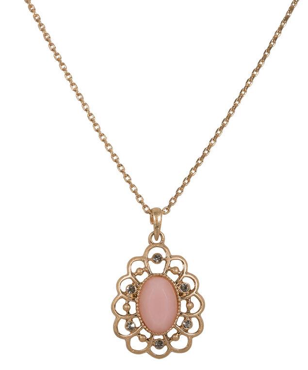 Filigree Flower Necklace, Soft Coral/Antique Gold, hi-res
