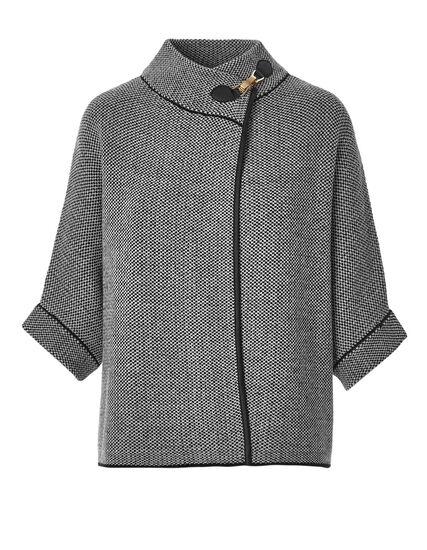 Dolman Sleeve Buckle Sweater, Black/Ivory, hi-res