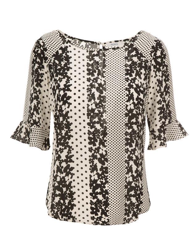 Ruffle Elbow Blouse, Black/White Print, hi-res