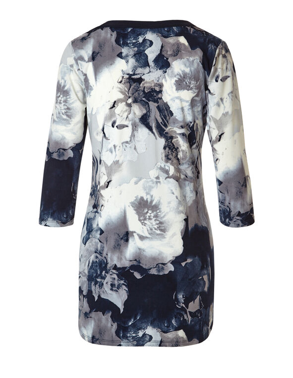 Floral Print 3/4 Sleeve Tunic, Navy/Arctic Blue/Med Grey, hi-res
