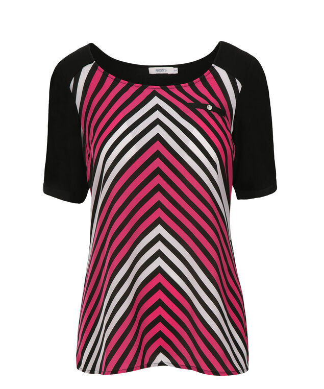 Woven Front Elbow Sleeve, Vibrant Pink Print, hi-res