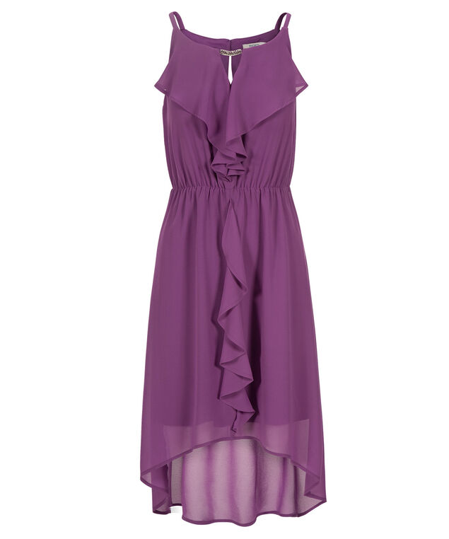 Keyhole Ruffle Front Dress, Purple, hi-res