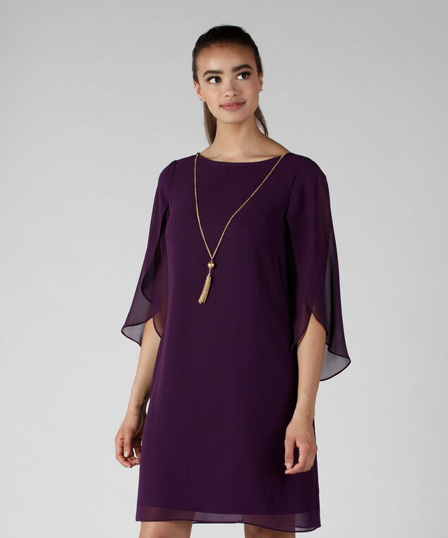 MSK Chiffon Trapeze Dress, Purple, hi-res