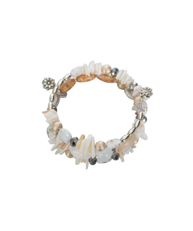 Natural Stone Coil Bracelet, White/Brown/Burnished Gold, hi-res