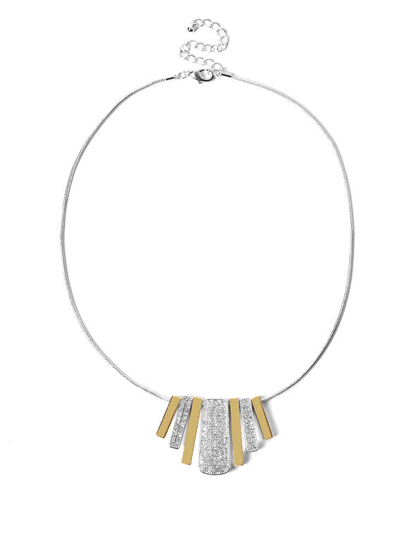 2 Tone Crystal Fringe Necklace, Silver/Gold, hi-res