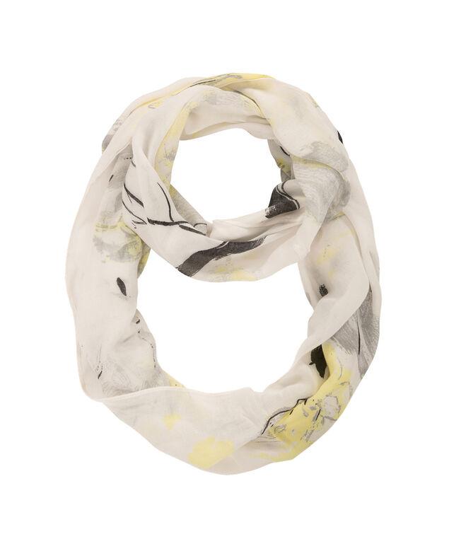 Brushstroke Floral Print Scarf, Yellow/Grey/Milkshake, hi-res