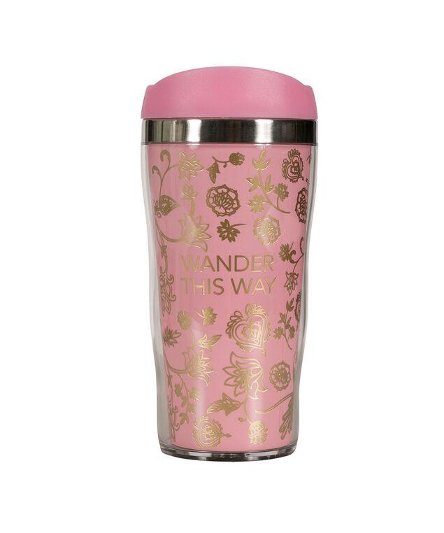 Wander This Way Travel Mug, Pink/Gold, hi-res