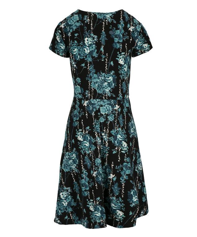 Textured Print Dress, Black/Teal Print, hi-res