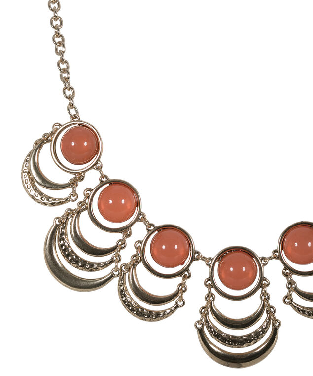 Semi Circle Statement Necklace, Soft Orange/Antique Gold, hi-res