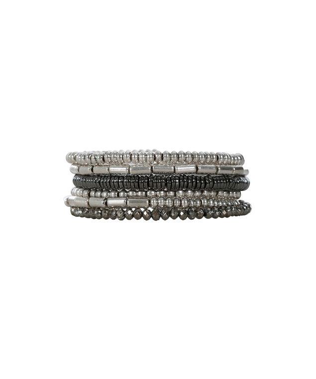 Coil Wrap Bracelet, Burnished Silver/Hematite, hi-res