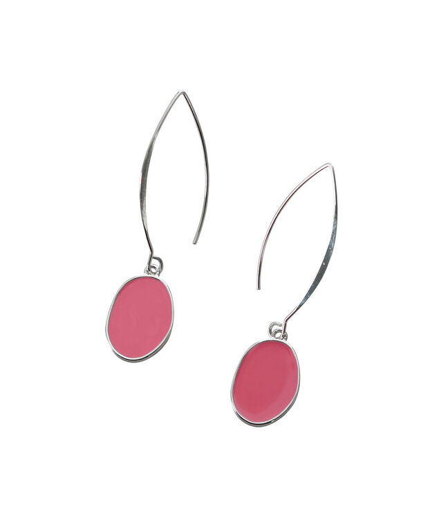 Epoxy Oval Earring, Coral/Rhodium, hi-res