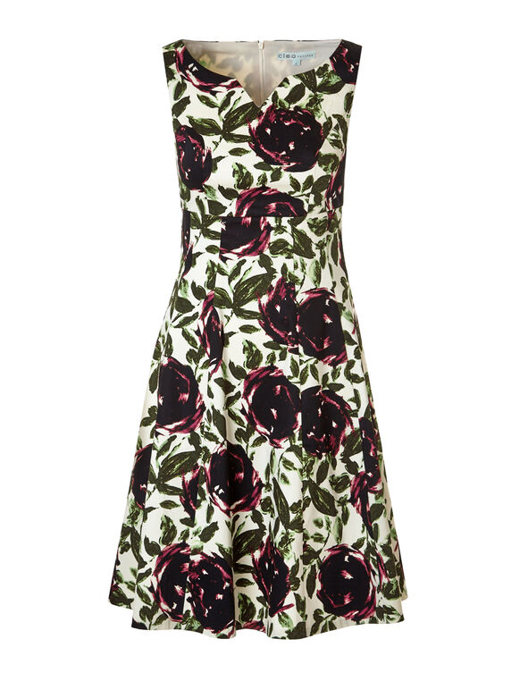 Clay Floral Fit and Flare Dress, Ivory/Clay/Olive, hi-res