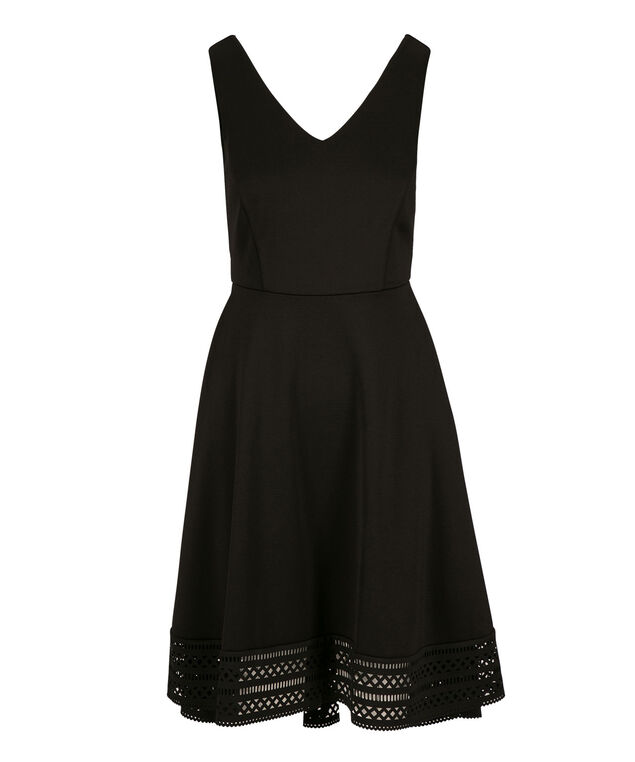 Laser Cut Scuba Dress, Black, hi-res