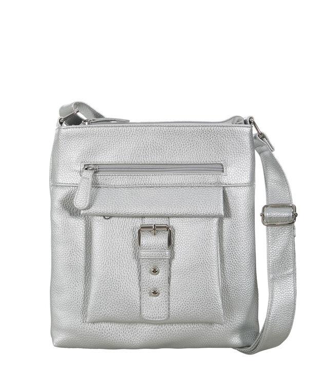 Metallic Crossbody Bag, Silver, hi-res