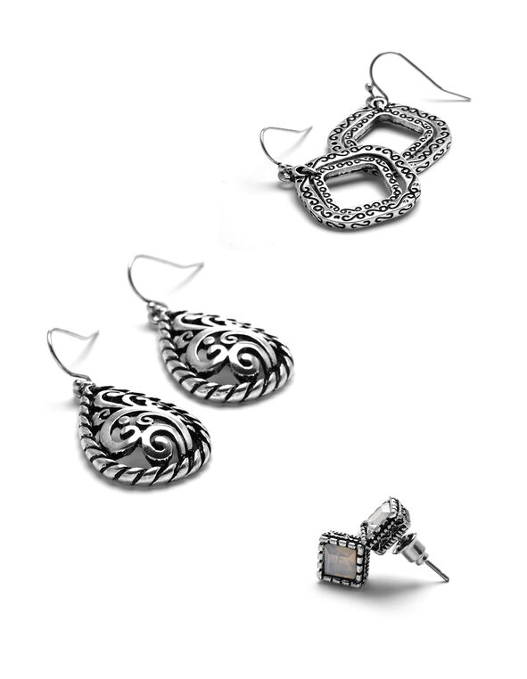 Silver Filigree Trio Earring Set, Silver, hi-res