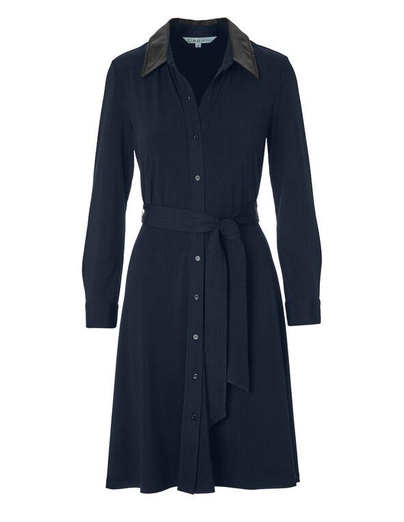 Navy Self-Tie Shirt Dress, Navy, hi-res