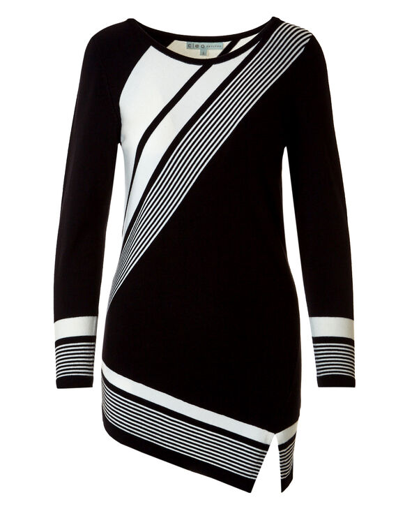 Striped Colour Block Tunic Sweater, Black/Ivory, hi-res