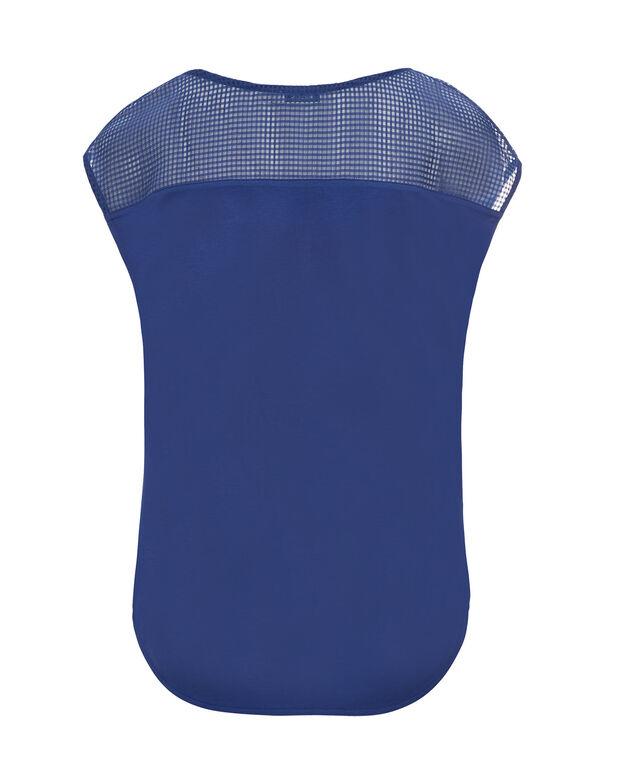 Perforated Yoke Zip Top, Sapphire, hi-res