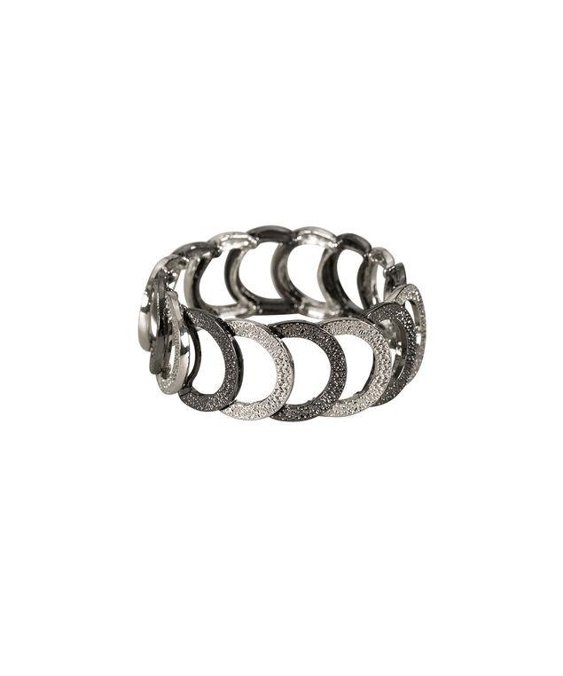 Mixed Metal Stretch Bracelet, Rhodium/Hematite, hi-res