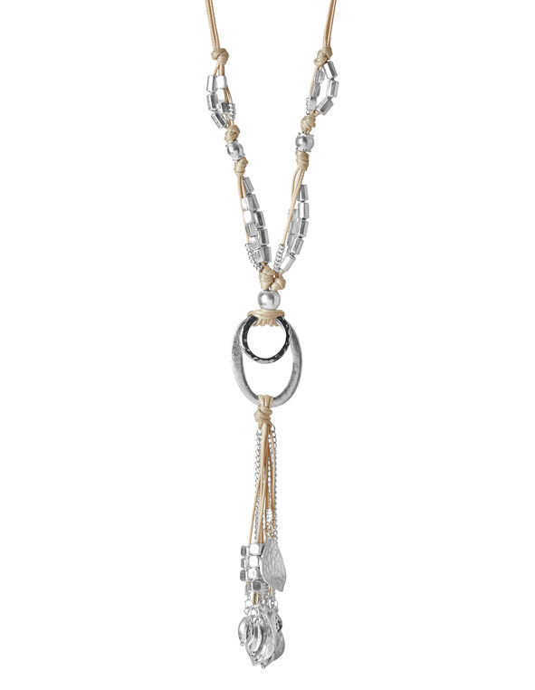 Neutral Mixed Tassel Necklace, Silver/Neutral, hi-res