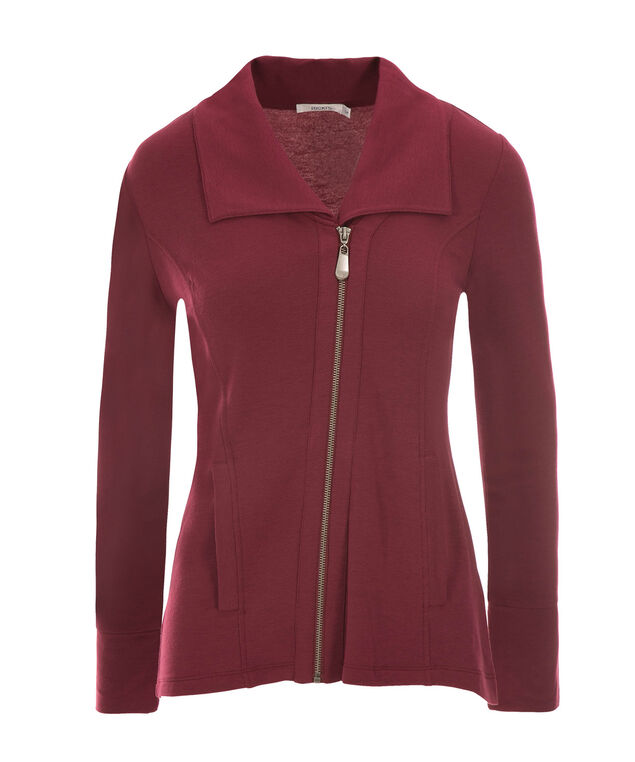 Asymmetrical Zip Jacket, Wineberry, hi-res