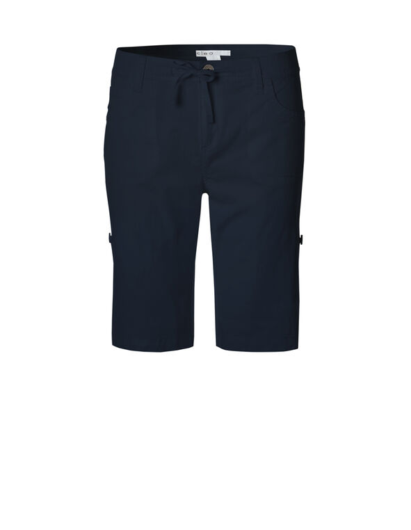 Navy Poplin Roll Up Short, Navy, hi-res