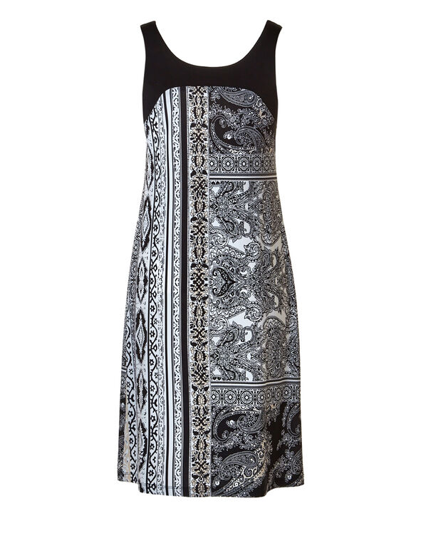 Black Tribal Print Shift Dress, Black/Ivory/Stone, hi-res