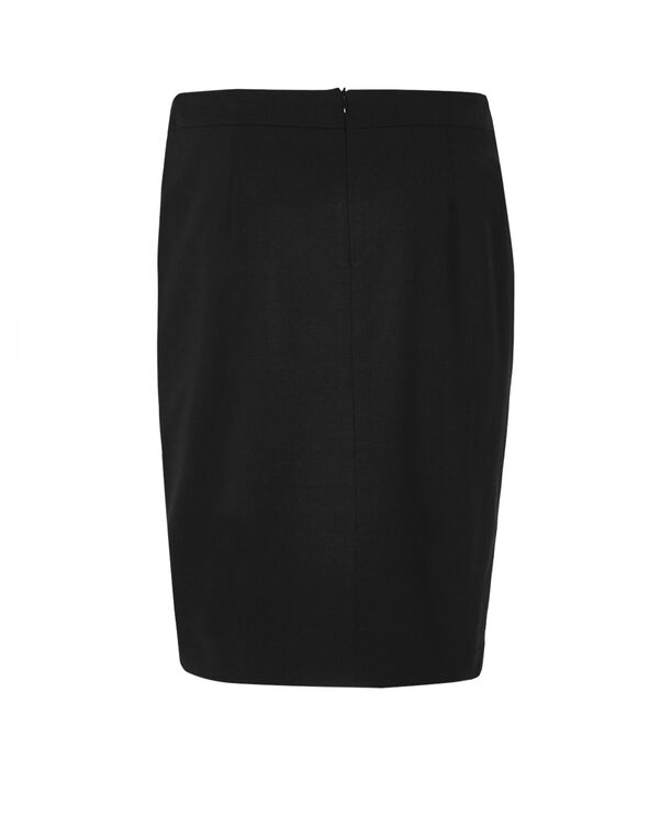 Black Zip Front Skirt, Black, hi-res