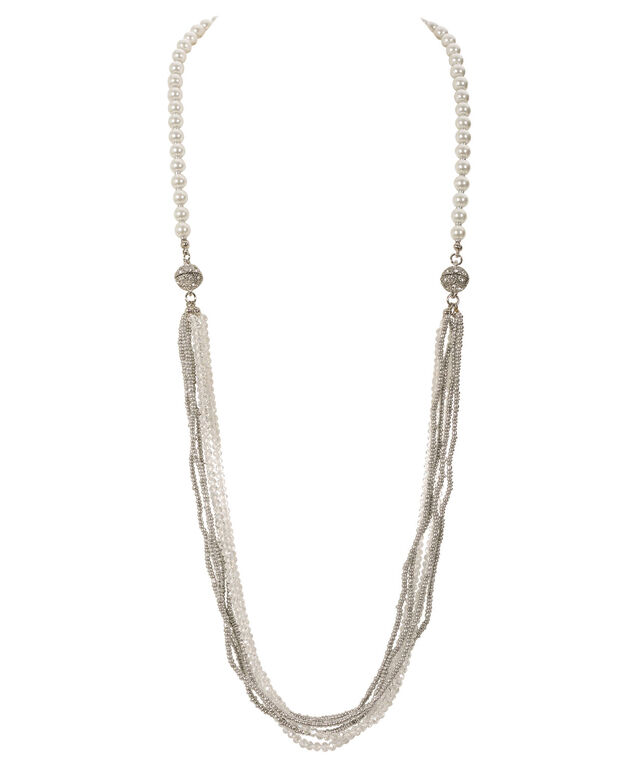 3 In 1 Convertible Necklace, White/Rhodium, hi-res