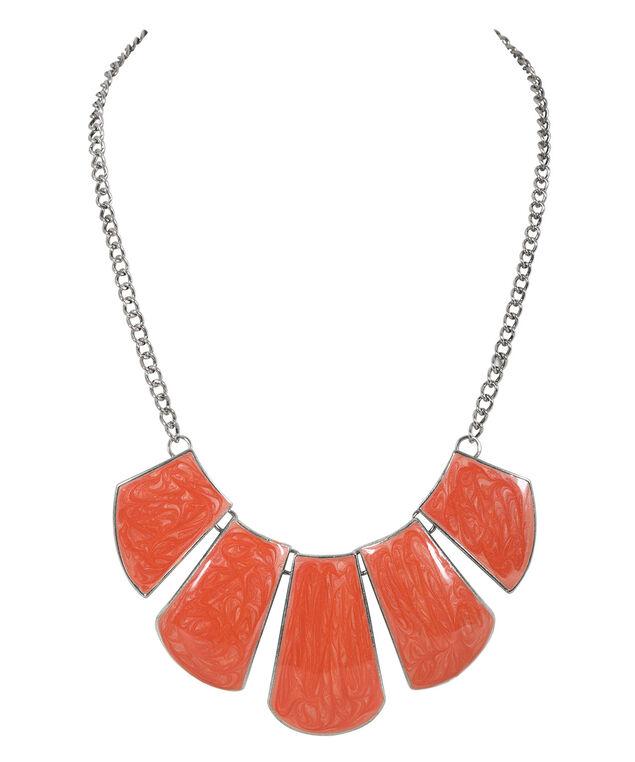 Orange Resin Statement Necklace, Orange/Burnished Silver, hi-res